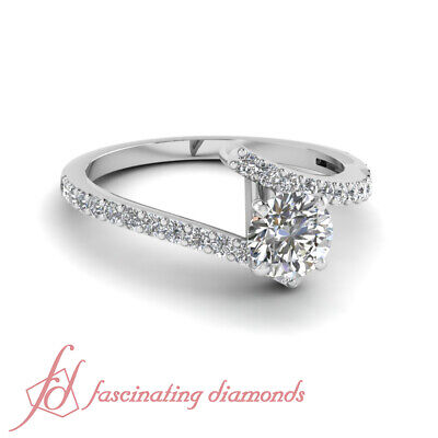 .80 Ct Round Cut Diamond Zig Zag Engagement Ring F-Color 14K Gold GIA Certified