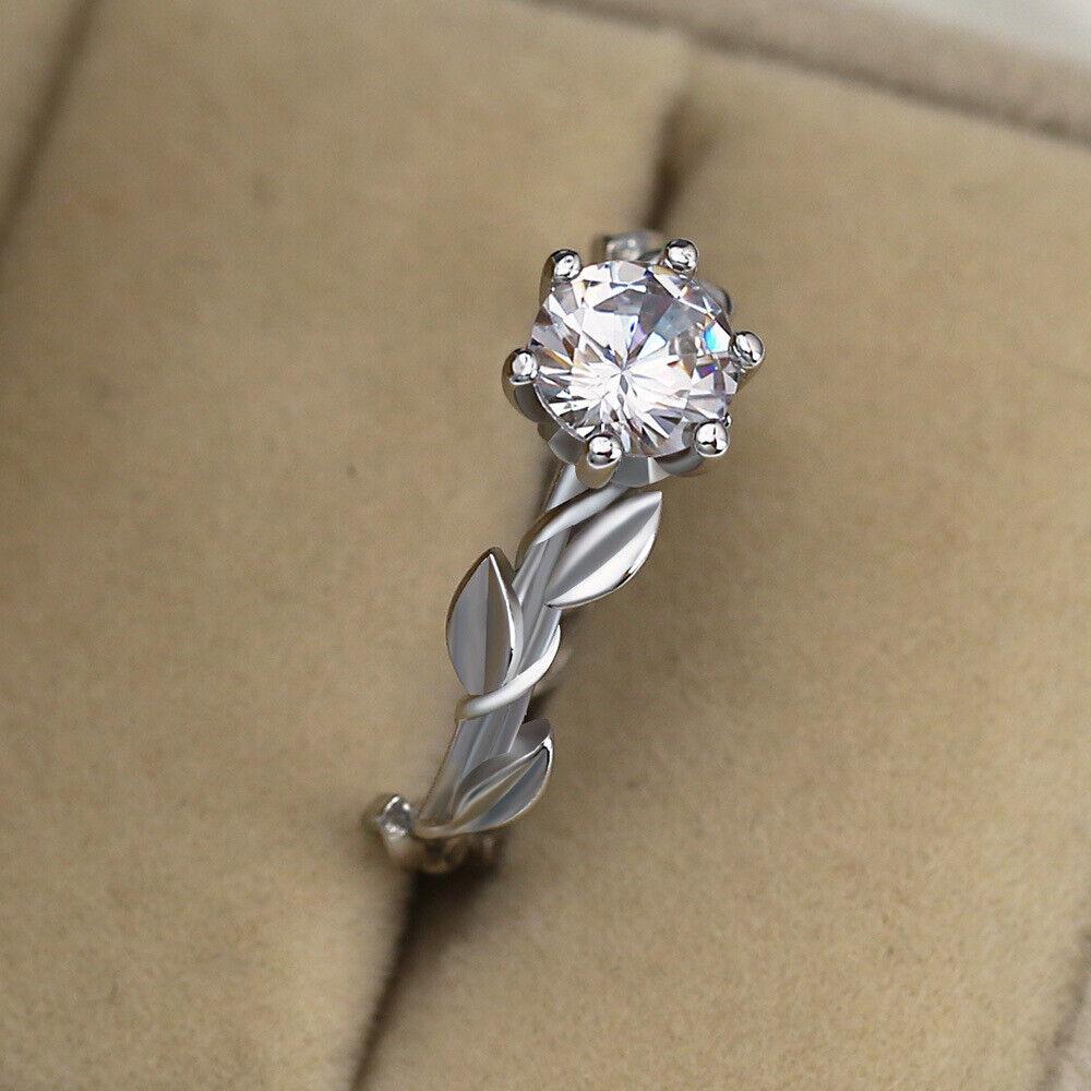 Women's Vintage Olive Leaf Shape Zircon Crystal Claw Ring La