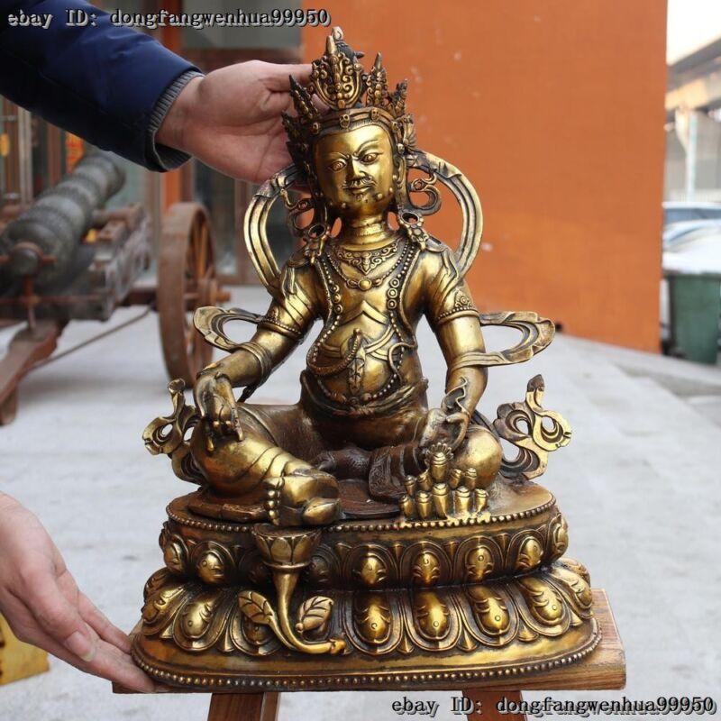 Tibetan Buddhism Copper Bronze Yellow Jambhala Wealth God Mammon Buddha Statue