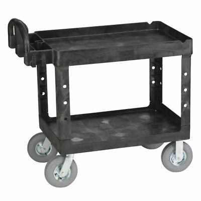 Rubbermaid Black Plastic 2-shelf Lipped Top Heavy-duty Utility Cart - 45 14l X