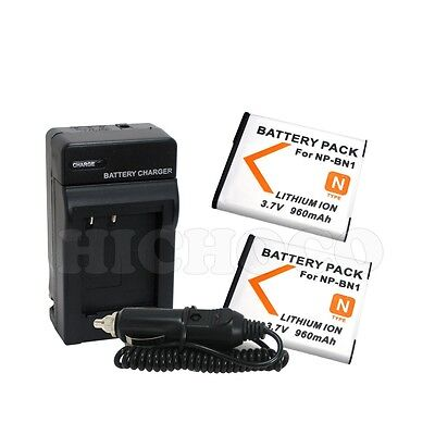 2 Battery + Charger Combo Kit For Sony NP-BN1 Cyber Shot DSC-W650 Digital Camera