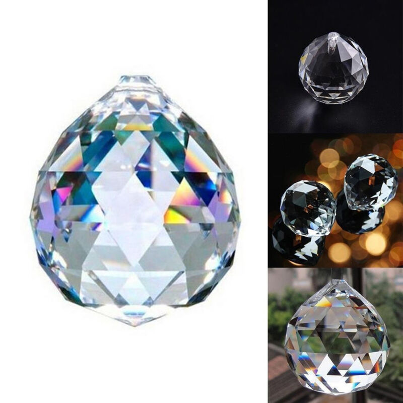 30mm DIY Faceted Crystal Glass Ball Chandelier Hanging Pendant Light Home Decor
