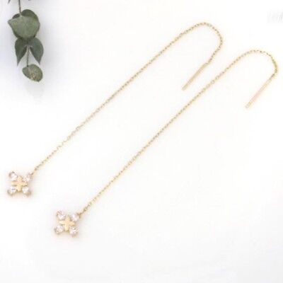 TPD Solid 14K Yellow Gold Flower Long Threader Drop Dangle a Pair of Earrings