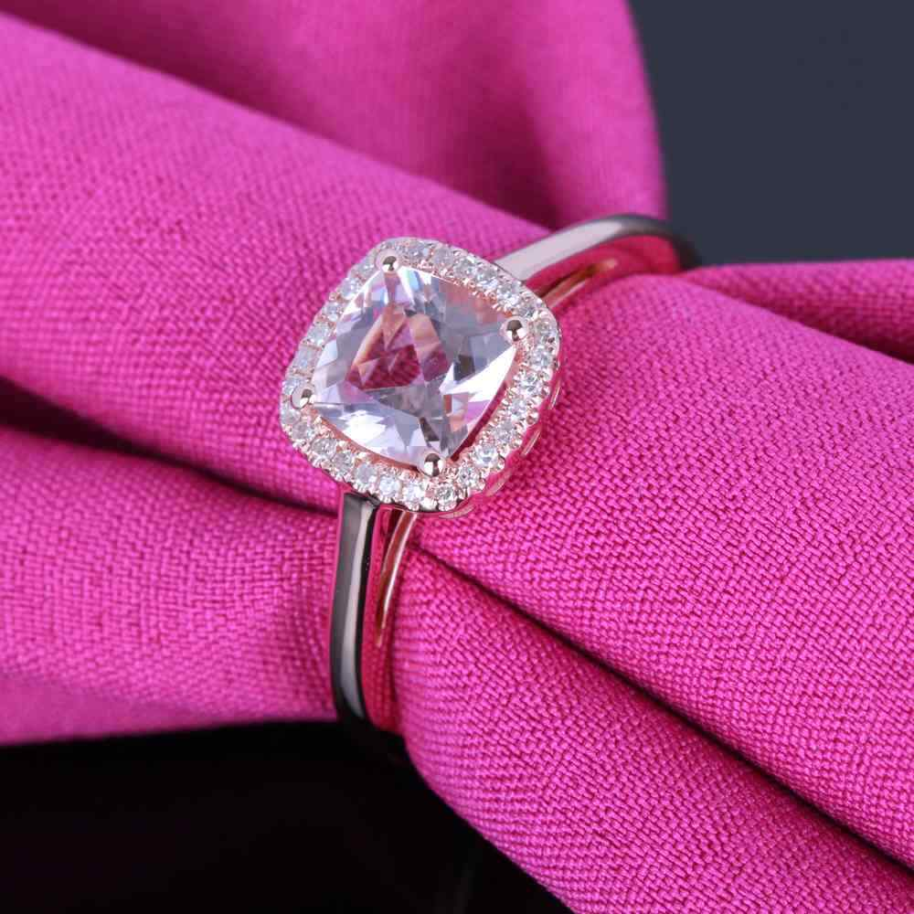 Hot Cushion 6x6mm Pink Morganite Natural SI/H Diamond Fine Ring ...