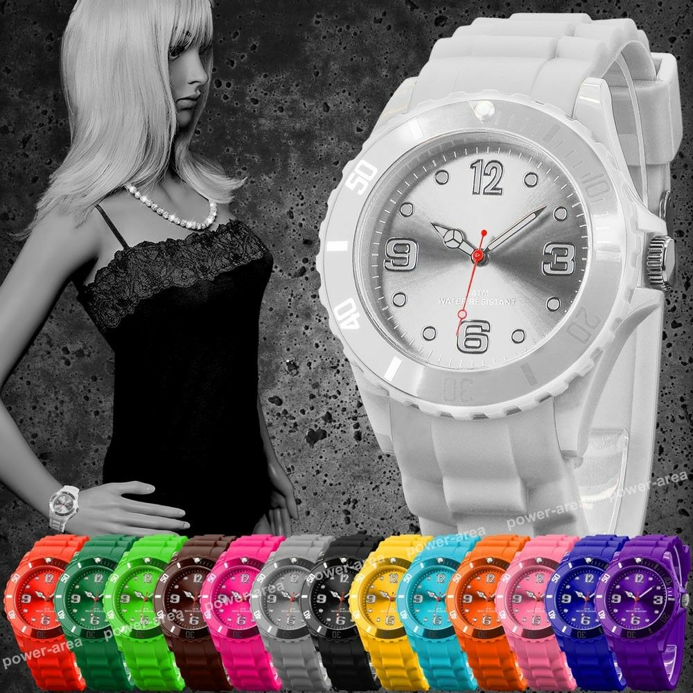 Silikon Armbanduhr Damenuhr Trend Herren Gummi Watch Analog Quarz Kinderuhr Neu