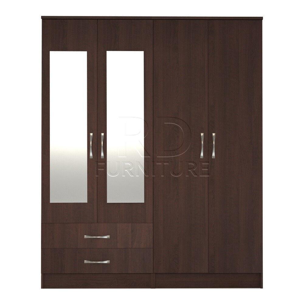 Beatrice 4 door 2 drawer mirrored wardrobe walnut effect