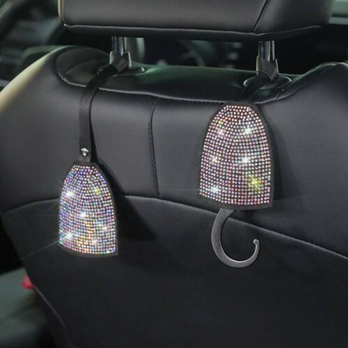 Multicolor Bling Car Headrest Hooks,Auto Backseat Metal Hanger Holder,Automotive Seat Back Organizer Storage for Purse,Handbag,Clothes,Umbrellas,Cute Car Accessories Interior for Women