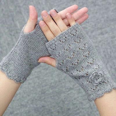 Women Girls Warm Winter Gloves Soft Weave Rhombic Breathable Fingerless Gloves