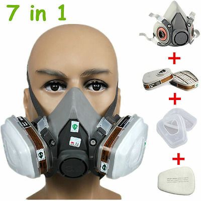 UK 3M 6200 Gas Dust Mask Half Face Spray Painting Filter Respirator Reusable New