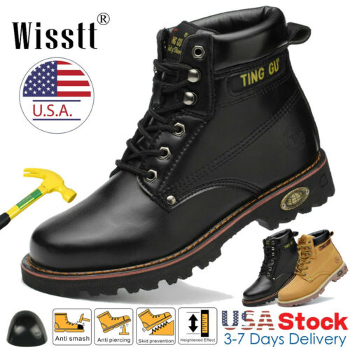 Men's Safety Work Shoes Steel Toe Boots Waterproof Leather W