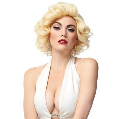50s Style Wigs (50's-60's Style Dxl Blonde Bombshell Short Curly Marilyn Look Synthetic Hair)