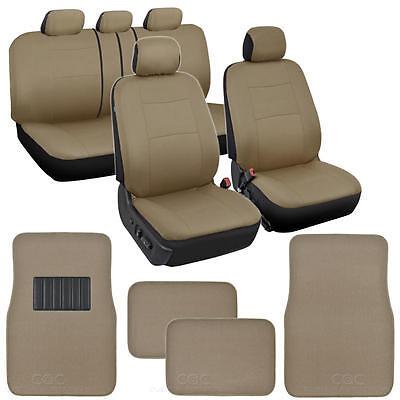 Solid Beige Car Seat Covers Set Complete w/ Front & Rear Carpet Floor Mats