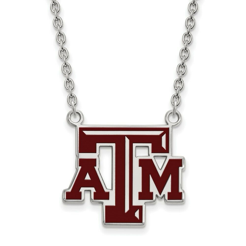 925 Sterling Silver Rhodium-plated Laser-cut Texas State University Large Pendant