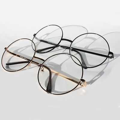 Vintage Retro Clear Lens Metal Oversized Circle Round Glasses Frames Black Gold (Black Circle Glasses)