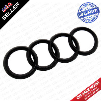 AUDI Matte Black Liftgate Trunk Logo Rings Badge Emblem Decoration A3 A4 S4 RS4