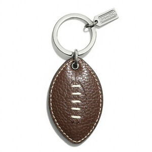 COACH MENS FOOTBALL BROWN PEBBLED LEATHER KEYCHAIN KEY CHAIN FOB RING F62076 NWT