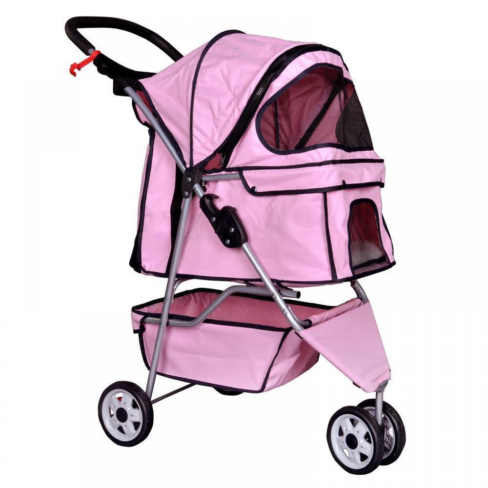 new pink pet stroller cat dog cage