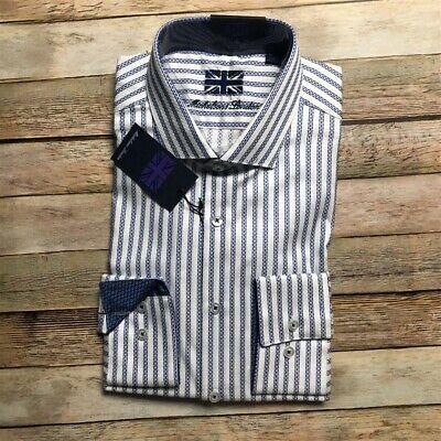 Michelsons London Mens Button Up Shirt White Blue Stripe L Dobby