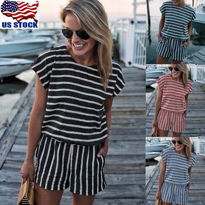 Women's Stripe Short Sleeve Mini Jumpsuit Summer Clubwear Casual Romper Playsuit