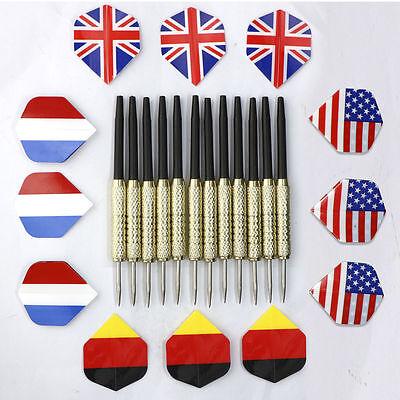 12Pcs Steel Needle Tip Darts with National Flag flights 4 set Brand New 16g