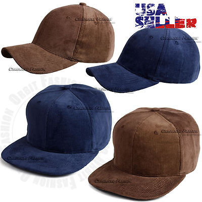 - Baseball Cap Plain Corduroy Cord Hat Blank Flat Curve Brim Vintage Men Women
