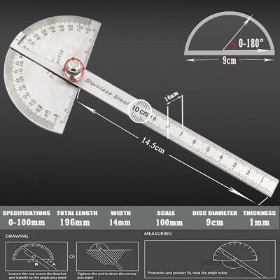 Sae Rotary Protractor Angle Rule Gauge Stainless Steel Machinist Tool New