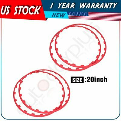 20 Inch Car Wheel Hub Rim Trim Tire Ring Guard nylon Strip Protector Decor Red