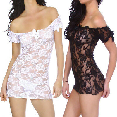 Lace Dressing Gown (Sexy Lingerie Women Lace Dress Babydoll Nightdress Nightgown Sleepwear Thong)