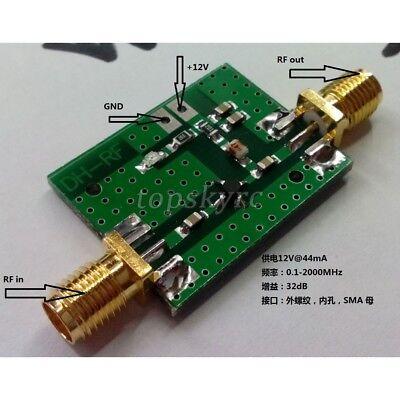 0.1-2000mhz Rf Wide Band Amplifier Gain 30db Low-noise Amplifier Lna 6-12 Vdc