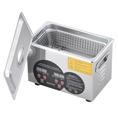 Stainless Steel 3l Industry Ultrasonic Cleaner Heater W Timer Jewelry Glasses