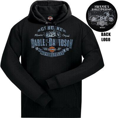 Harley Davidson Mens Rough Genuine HD Hoodie Black Swansea