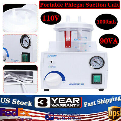 1000ml 90va Portable Suction Unit Machine Medical Aspirator Homecare Tabletop Us