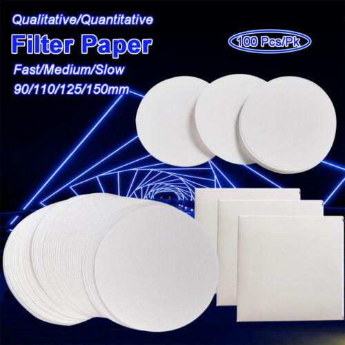 100pcs Round Qualitative/Quantitative Filter Filting Paper Lab Filtration Supply
