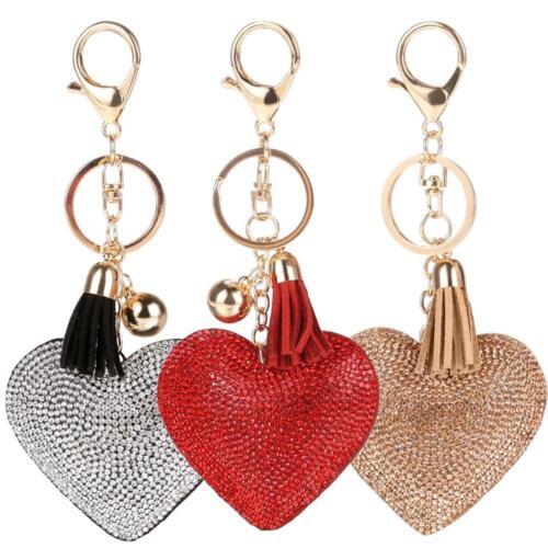 Love Heart Keychain Rhinestone Tassel Women Girls Car Bag Pendant Key Ring Drop