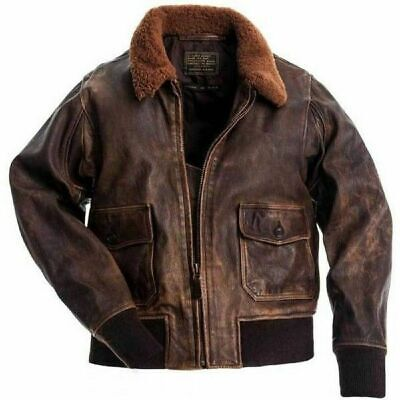 Men's Aviator G-1 A-2 Navy Distressed Brown Flight Bomber Real Leather Jacket