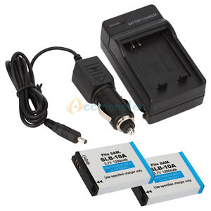2 Battery +AC Charger for Samsung SLB-10A L110 L200 SL310 TL9 M110 M310W WB500