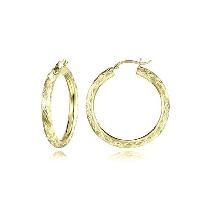 14K Gold Diamond-Cut 4mm Lightweight Medium Round Hoop Earrings, 32mm 4mm Medium Hoop Earrings
