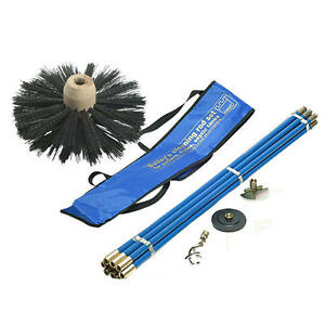 Industrial Bailey Universal 30ft Chimney Brush Sweep Sweeping Drain Rod Set Kit