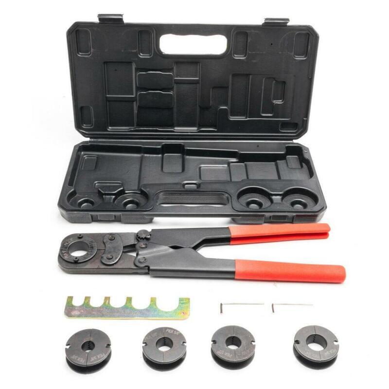 """Manual Pex Crimper Kit Copper Ring Crimping Plumbing Tool 3/8"""" 1/2"""" 5/8"""" 3/4"""" 1"""""""