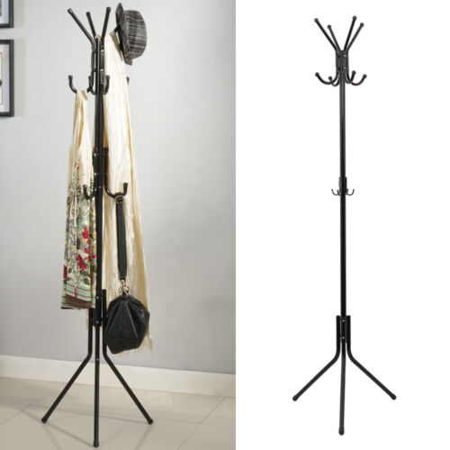Freestanding 8 Hook Hat And Coat Stand Clothes Hanger Hang