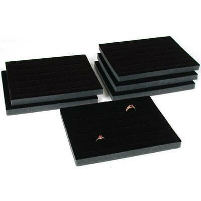 Six 36 Ring Black Foam Jewelry Display Tray Inserts 7 34 X 6 34