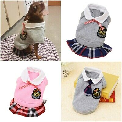Dog Clothes School Style Outfit For Small Puppy Pet Cute Yorkshire Chihuahua