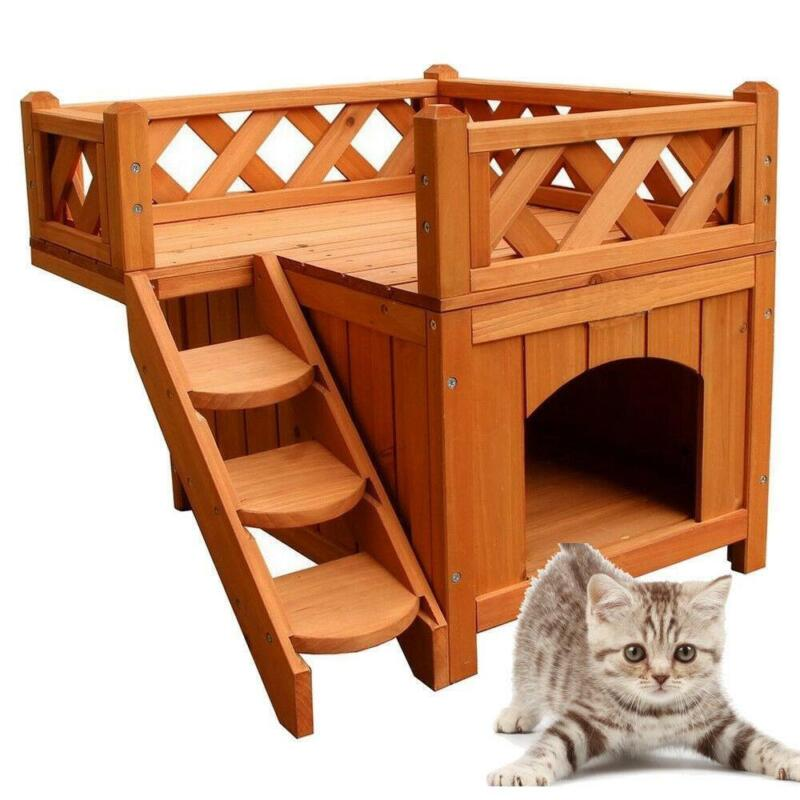 New Pet Wooden Cat House/Kennel Living House Kennel with Balcony 2 Layers
