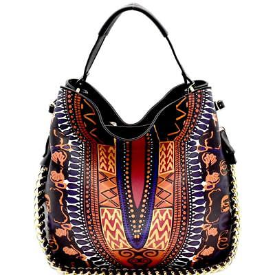 Dashiki Ethnic Print Chain Accent 2-Way Hobo Handbag