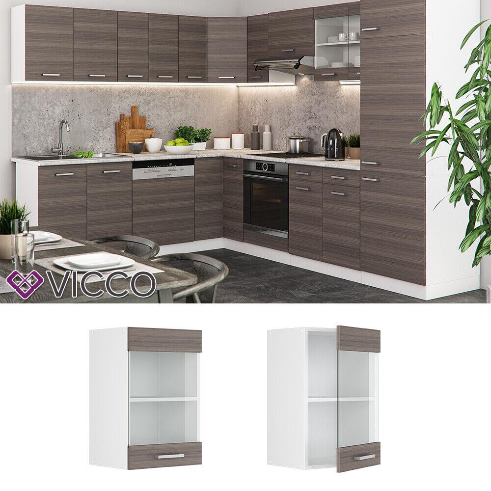 VICCO Küchenschrank Hängeschrank Unterschrank Küchenzeile R-Line Hängeglasschrank 40 cm edelgrau