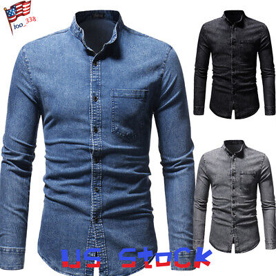Men Fashion Denim Shirts Casual Slim Fit Stylish Wash Jeans Button Up T-Shirt US ()
