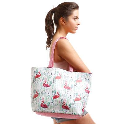 Tropical Flamingo Jumbo Shopping Beach Tote Bag Linen Fake Leather  -White Pink