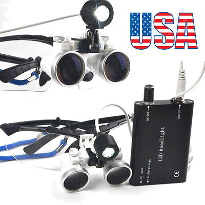 Dental Loupes 3.5x420mm Surgical Medical Binocular With Led Head Light Lamp Usa