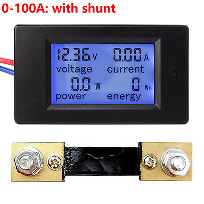 Dc 6.5100v 50-100a Lcd Digital Combo Panel Display Volt Amp Power Watt Meter
