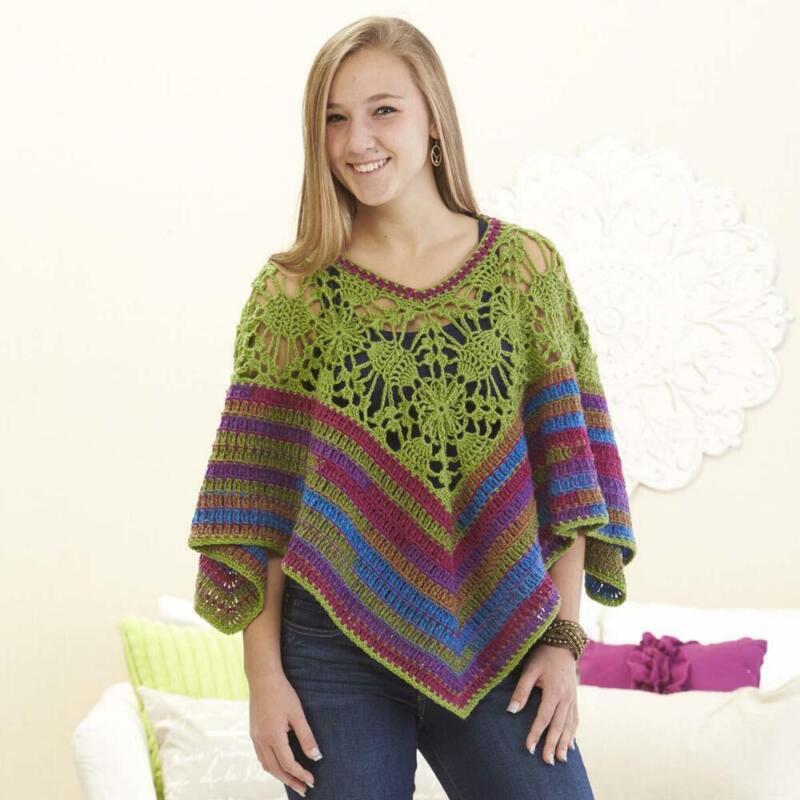 Herrschners® Granny Square Poncho Crochet Yarn Kit